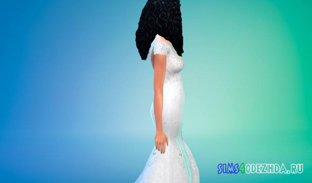 Свадебное платье с открытой спиной для Симс 4 - фото 2