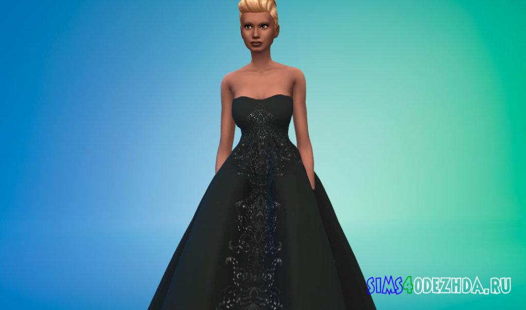 Свадебное платье с открытыми плечами для Симс 4 - фото 1