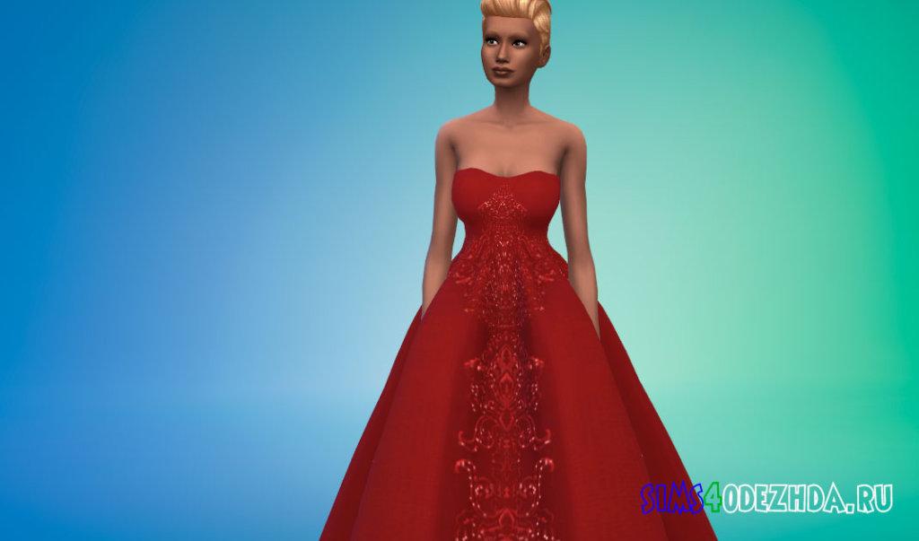 Свадебное платье с открытыми плечами для Симс 4 - фото 2