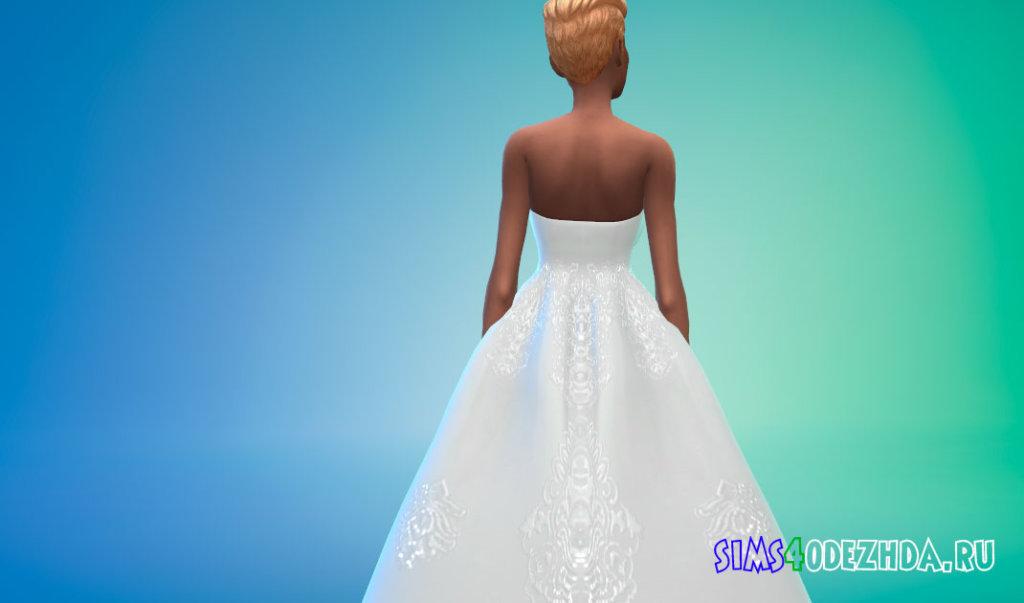 Свадебное платье с открытыми плечами для Симс 4 - фото 3