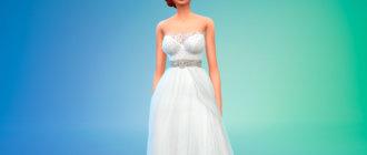 Свадебное платье с поясом и открытыми плечами для Симс 4 - фото 1