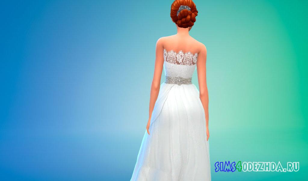 Свадебное платье с поясом и открытыми плечами для Симс 4 - фото 3