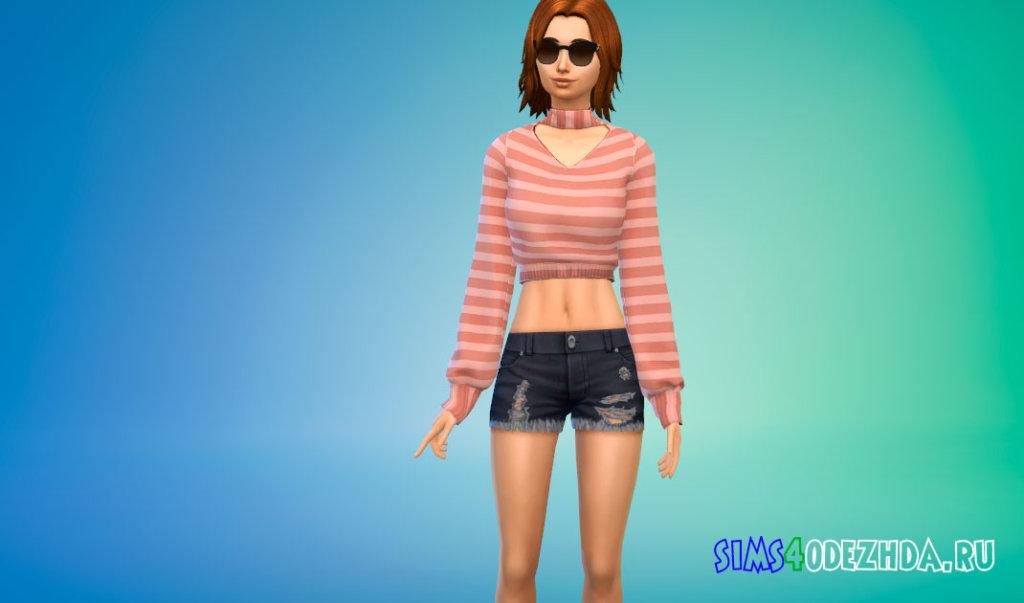 Стильный свитер для женщин для Симс 4 - фото 3