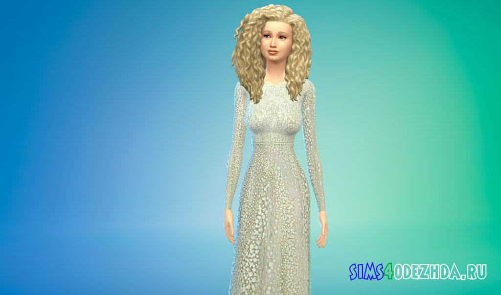 Шикарное длинное женское платье для Симс 4 - фото 1