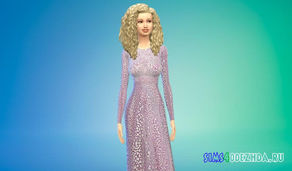 Шикарное длинное женское платье для Симс 4 - фото 2