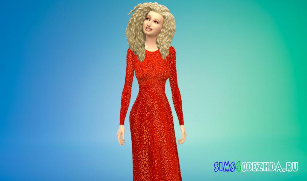 Шикарное длинное женское платье для Симс 4 - фото 3