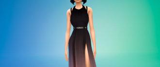 Шикарное платье с вырезом на ноге для Симс 4 - фото 1