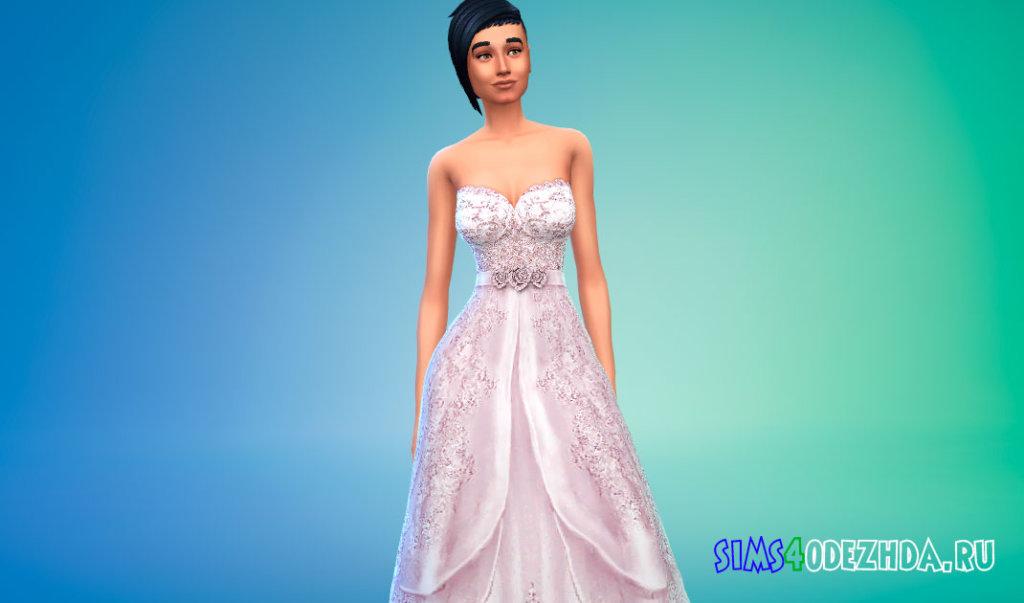 Шикарное свадебное платье для женщин для Симс 4 - фото 2