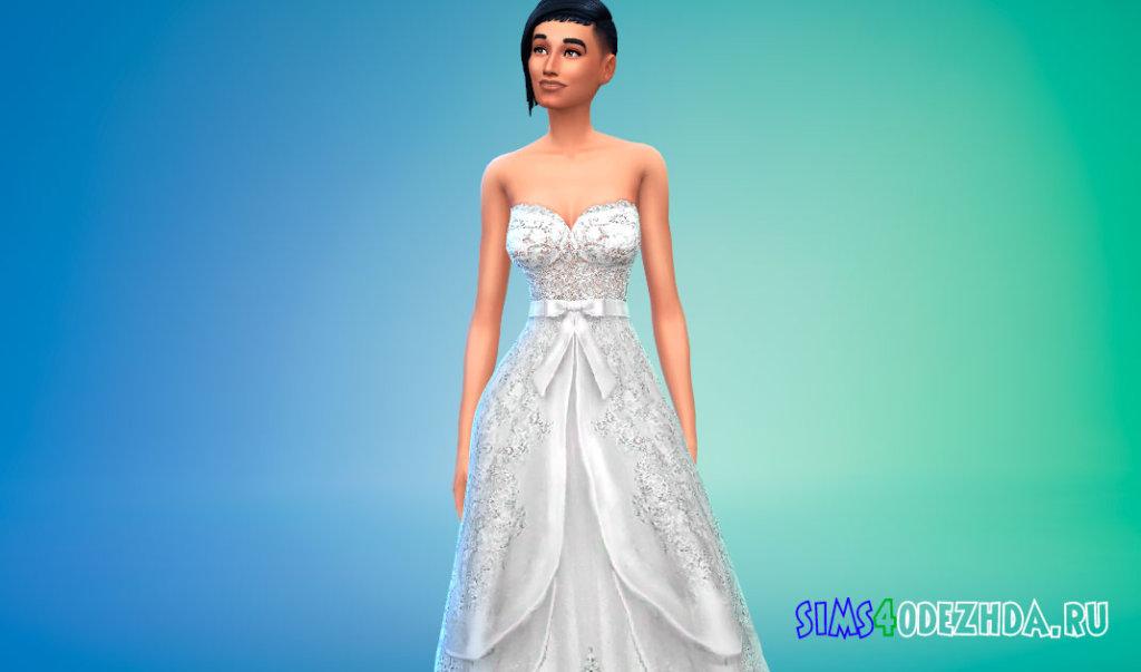 Шикарное свадебное платье для женщин для Симс 4 - фото 3