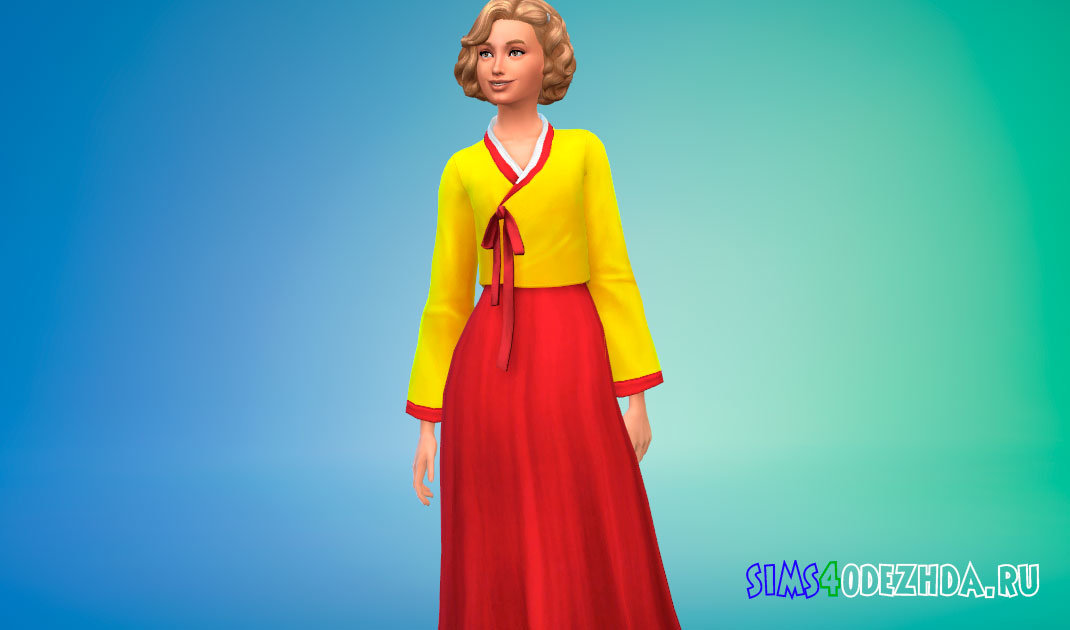 Яркий женский ханбок для Симс 4 - фото 1
