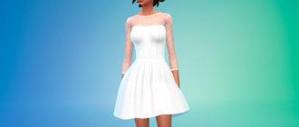 Белое элегантное платье с кружевным топом для Симс 4 - фото 1