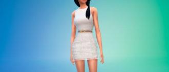 Короткое платье с сетчатым слоем и светло-коричневый поясом для Симс 4 - фото 1