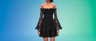 Кружевное платье с прозрачными рукавами для Симс 4 - фото 1