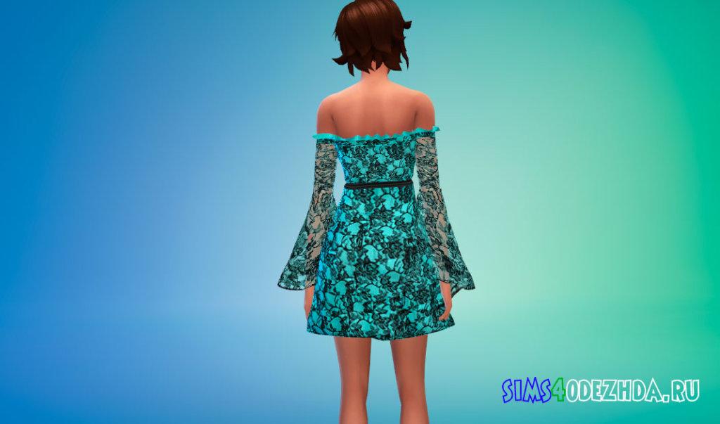 Кружевное платье с прозрачными рукавами для Симс 4 - фото 3