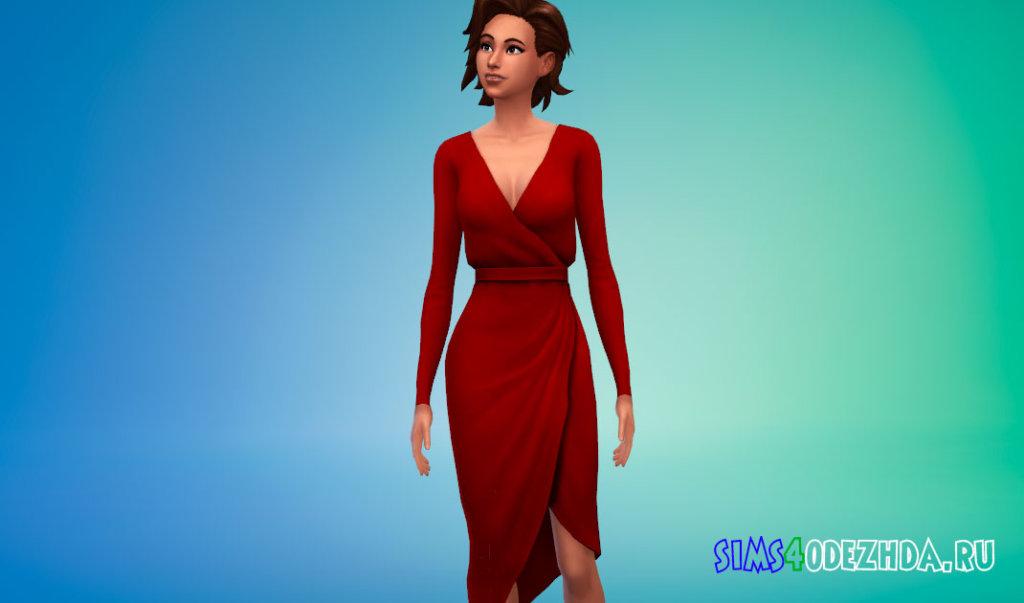 Платье с асимметричным подолом для Симс 4 - фото 1