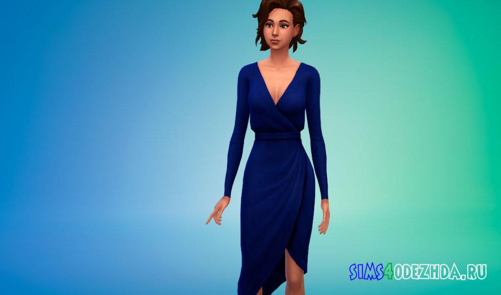 Платье с асимметричным подолом для Симс 4 - фото 2