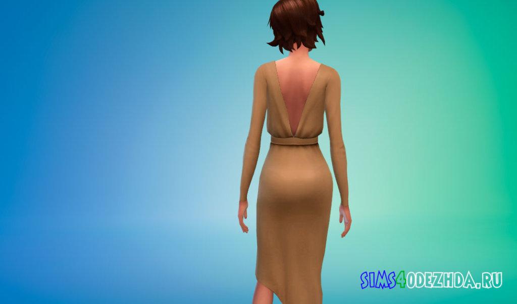 Платье с асимметричным подолом для Симс 4 - фото 3