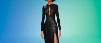 Платье с блестками и вырезом для Симс 4 - фото 1