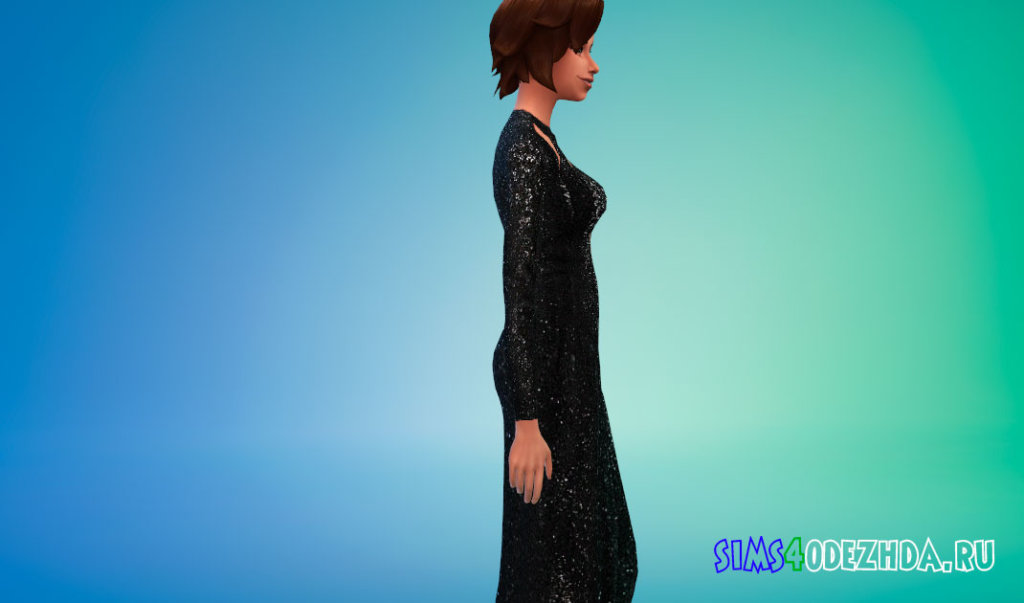 Платье с блестками и вырезом для Симс 4 - фото 2