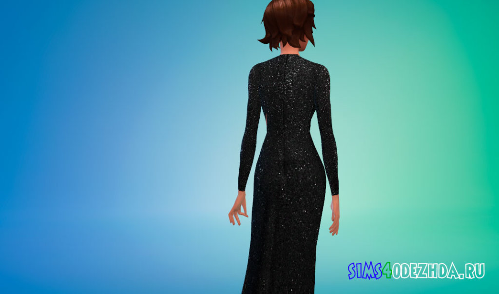 Платье с блестками и вырезом для Симс 4 - фото 3