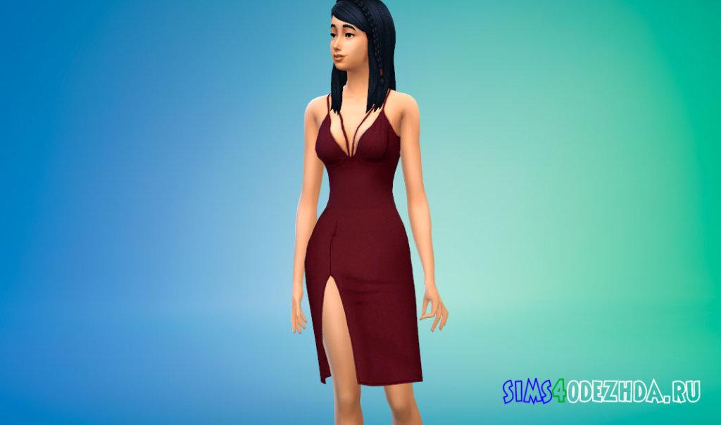 Платье средней длины с боковым вырезом для Симс 4 - фото 1