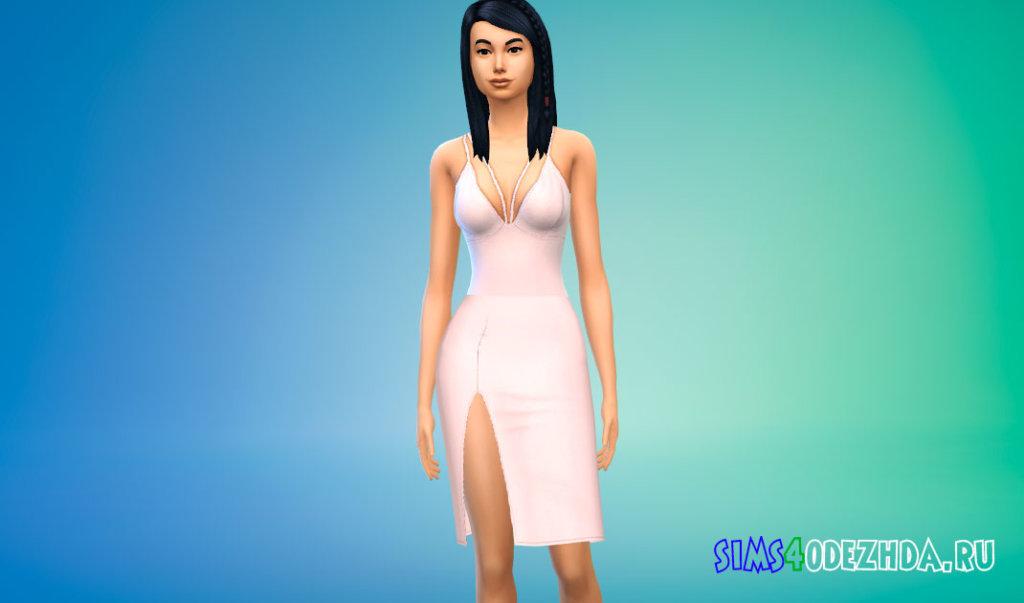 Платье средней длины с боковым вырезом для Симс 4 - фото 2