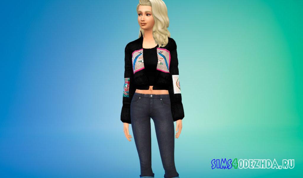 Простая куртка-бомбер для женщин для Симс 4 - фото 3