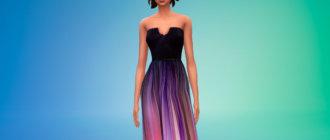 Шелковое платье омбре для Симс 4 - фото 1