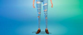 Синие рваные женские джинсы с высокой посадкой для Симс 4 - фото 1