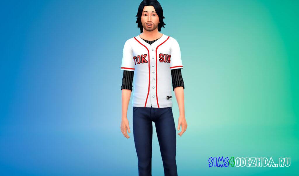 Бейсбольная футболка для Симс 4 - фото 1