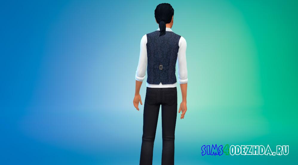 Белая рубашка с галстуком и жилетом для Симс 4 - фото 3