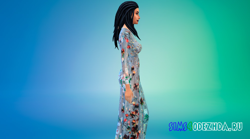 Цветочное длинное платье для Симс 4 - фото 2