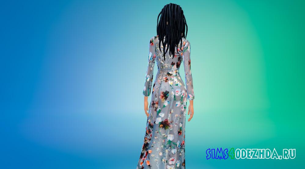 Цветочное длинное платье для Симс 4 - фото 3