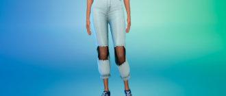 Джинсы с вырезом на коленях для Симс 4 - фото 1