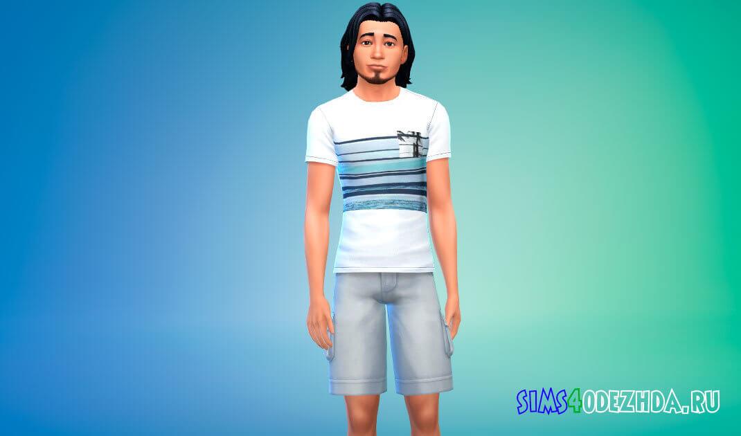 Коллекция летних футболок для мужчин для Симс 4 - фото 1