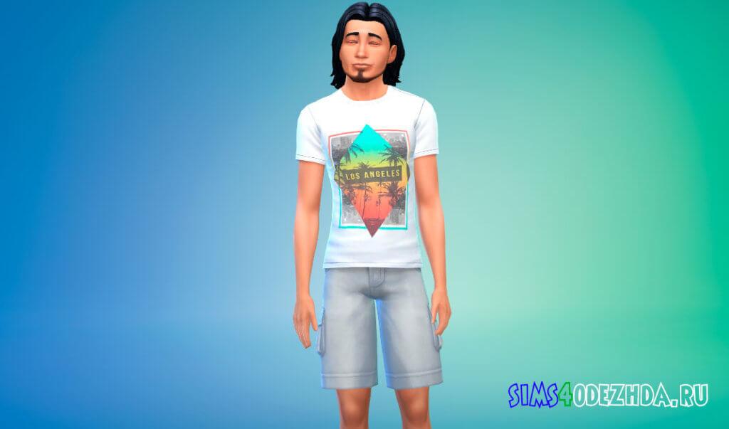 Коллекция летних футболок для мужчин для Симс 4 - фото 2