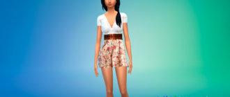 Короткое платье с цветами для Симс 4 - фото 1