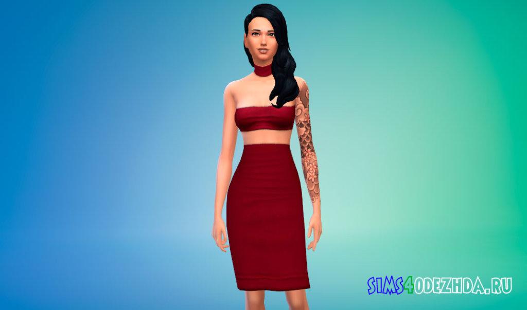 Модное платье из трех частей для Симс 4 - фото 1
