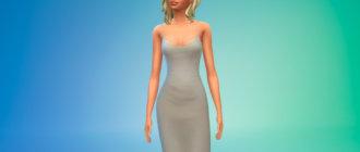 Облегающее платье миди для Симс 4 - фото 1