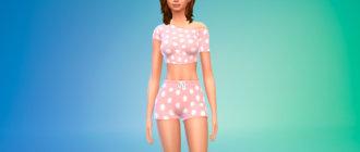 Пижамные шорты и топ для Симс 4 - фото 1