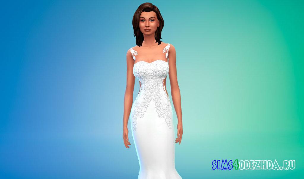 Платье с цветочными узорами для Симс 4 - фото 2