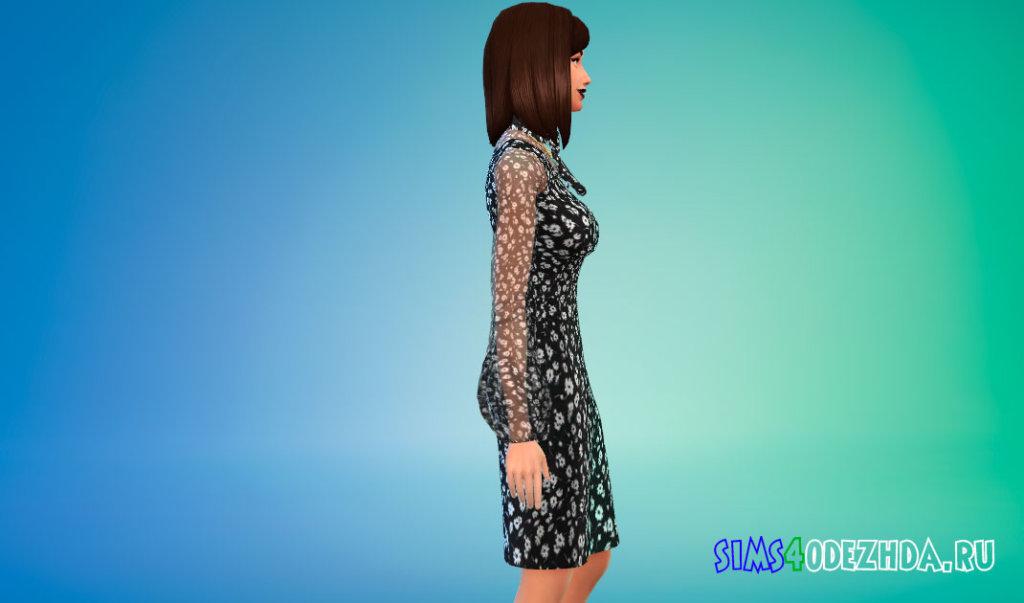 Платье с принтом в виде ромашек для Симс 4 - фото 2