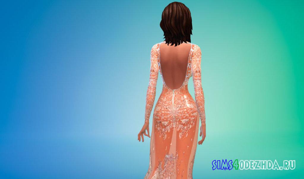 Полупрозрачное платье Ким Кардашьян для Симс 4 - фото 3