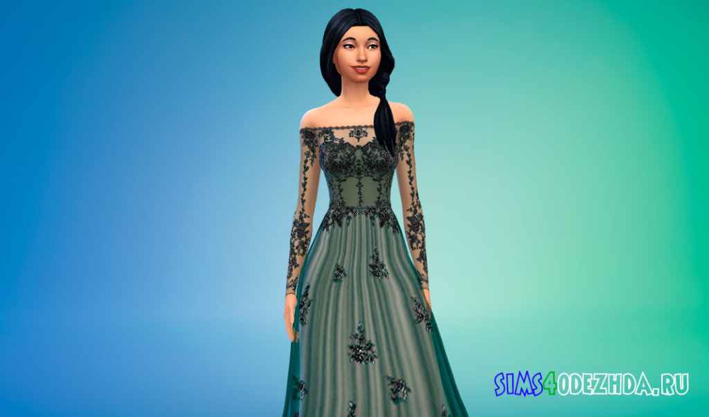 Прозрачное платье с кружевными вставками для Симс 4 - фото 1