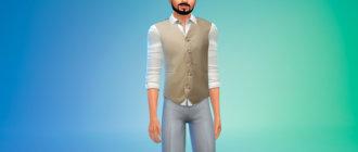 Рубашка с жилетом для мужчин для Симс 4 - фото 1