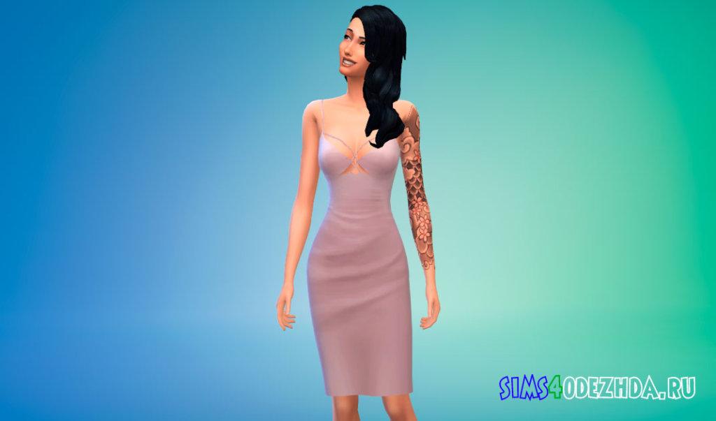 Шикарное платье миди для Симс 4 - фото 2
