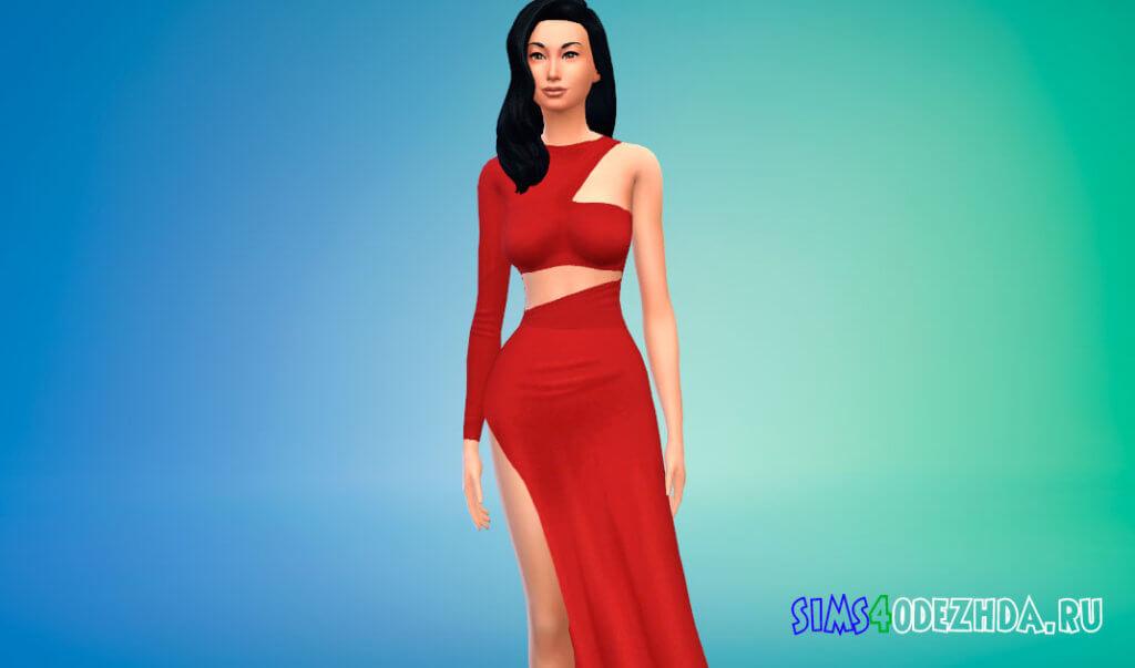 Шикарное женское платье с боковым вырезом для Симс 4 - фото 1