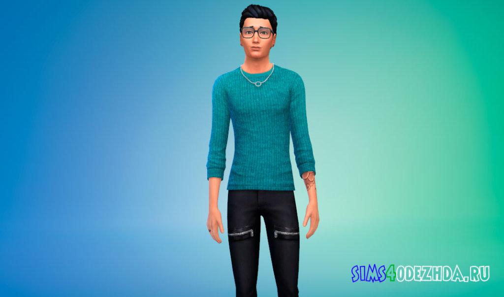 Стильный мужской свитер для Симс 4 - фото 1