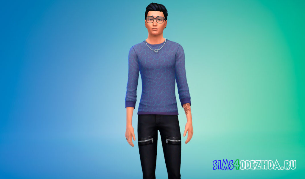 Стильный мужской свитер для Симс 4 - фото 2
