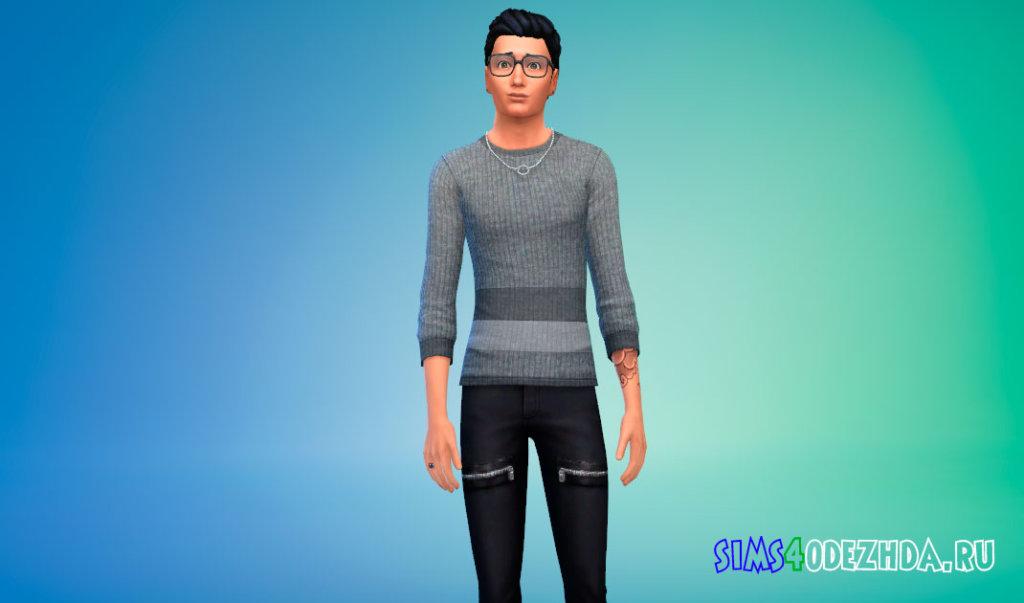 Стильный мужской свитер для Симс 4 - фото 3